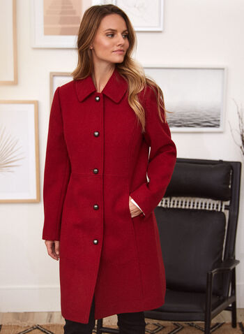 Stretch Faux Wool Structured Coat, Red,  fall winter 2021, coat, outerwear, structured, wool, faux wool, stretch, princess, shirt collar, button front, long sleeve, button, pockets, satin lining, warm, outdoor