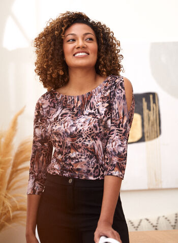 Animal Print 3/4 Sleeve Top, Pink,  fall winter 2021, made in canada, top, sweater, tee, shirt, t shirt, blouse, animal print, pattern, motif, leopard, cheetah, boat neckline, 3/4 sleeves, cold shoulder, stretch
