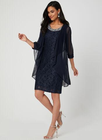Robe en dentelle pailletée et veste, Bleu, hi-res,  automne hiver 2019, brillante, résille, maille filet, sans manches, robe cocktail, robe de cocktail
