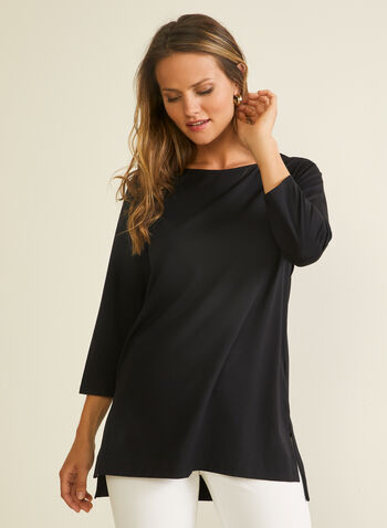 3/4 Sleeve Cotton Blend Tee, Black,  t-shirt, 3/4 sleeves, boat neck, high low, cotton blend, spring summer 2020
