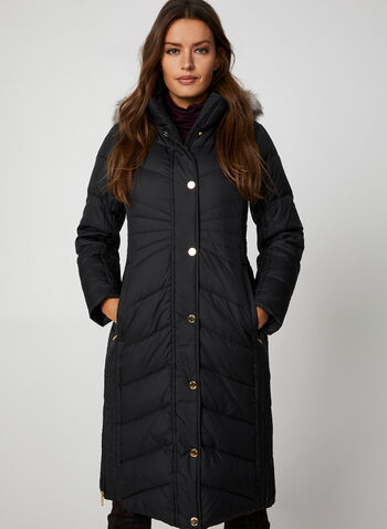 Anne Klein - Quilted Coat, Black,  Anne Klein, coat, outerwear, down, faux fur, hood, zip down, snap placket, quilted, fall 2019, winter 2019