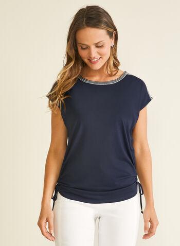 T-shirt à détails ornementés, Bleu,  t-shirt, manches courtes, ornements, col dégagé, printemps été 2020