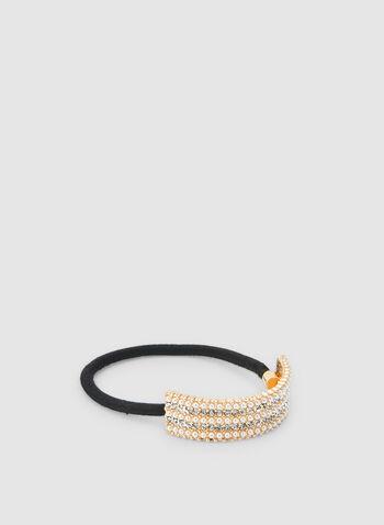 Élastique à perles et cristaux, Blanc cassé,  élastique, perles, cristaux, cheveux, automne hiver 2019