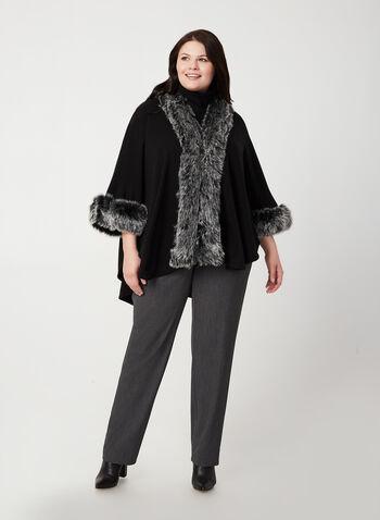 Étole à bordure en fausse fourrure, Noir, hi-res,  étole, fausse fourrure, tricot, automne hiver 2019