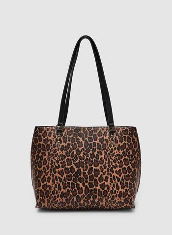 Sac fourre-tout motif léopard, Noir,  sac fourre-tout, léopard, rivets, automne hiver 2019