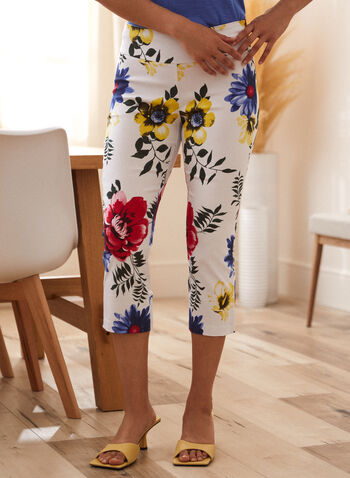 Charlie B - Printed Capri Pants, White,  spring summer 2021, pants, bottoms, capris, capri, floral, printed, floral print, cropped pants, pull-on, pull on, elastic waist, straight leg, slit, cutout, straight leg, Charlie B