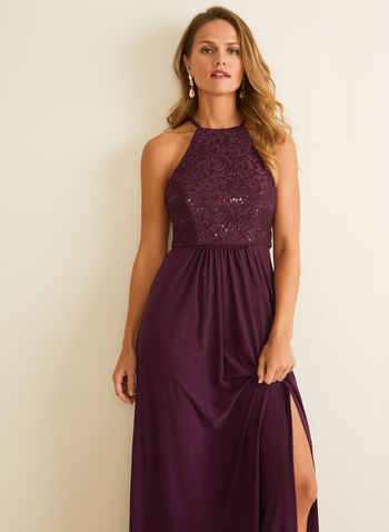 Lace & Sequin Bodice Dress, Purple,  dress, occasion, evening, lace, sequins, glitter, jersey, a-line, apron neck, spring summer 2020