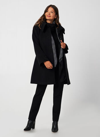 A-Line Wool-Like Coat, Black, hi-res,  fall winter 2019, wool, A-line, buttons