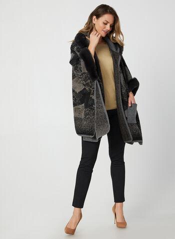 Ness - Étole à capuchon et fausse fourrure, Noir, hi-res,  étole, fausse fourrure, patchwork, tricot, automne hiver 2019