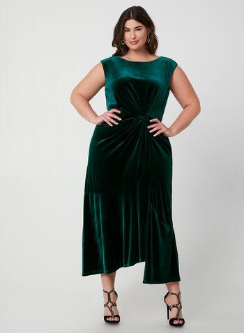 Robe en velours à effet torsadé, Vert,  robe de soirée, velours, mancherons, effet torsadé, automne hiver 2019