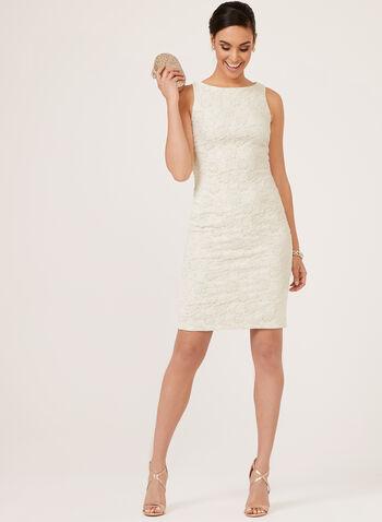 Metallic Brocade Sheath Dress, Off White, hi-res