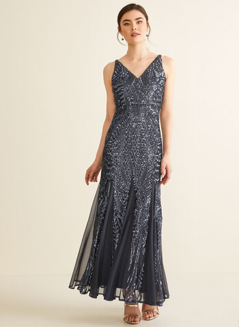 Sequin & Mesh Dress, Grey,  dress, evening, mermaid, sleeveless, v-neck, sequins, mesh, spring summer 2020