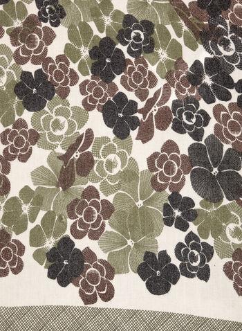 Oblong Floral Grid Print Scarf, Green, hi-res