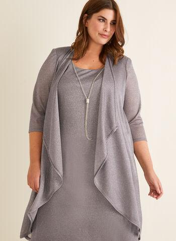 Metallic Dress & Cardigan Set, Silver,  cocktail dress, cardigan, set, metallic fibres, open front, cascade, shoulder pads, scoop neck, sleeveless, necklace, chain, spring summer 2020