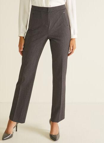 Signature Fit Straight Leg Pants, Grey,  pants, signature, straight, pockets, pleats, bi-stretch, spring summer 2020
