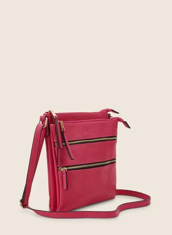 Sac zippé en similicuir, Rose,  sac à main, rectangle, zip, rectangle, bandoulière, printemps été 2020