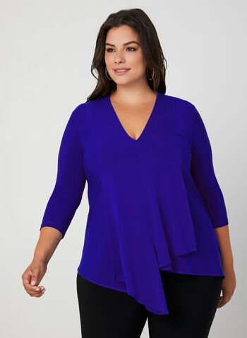 Joseph Ribkoff -Asymmetric Jersey Top, Blue,  fall 2019, winter 2019, blouse, tunic, v-neck, jersey, ¾ sleeves, 3/4 sleeves