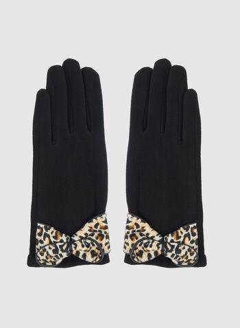 Gants au nœud motif animalier, Noir, hi-res,  gants, nœud, animalier, automne hiver 2019