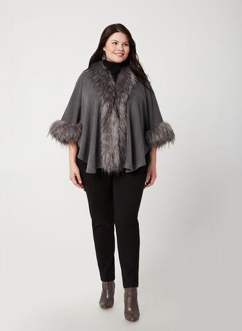 Étole en tricot et détails en fausse fourrure, Gris, hi-res,  étole, fausse fourrure, tricot, automne hiver 2019