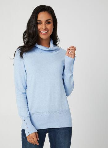 Pull col roulé en tricot pointelle, Bleu,  automne hiver 2019, pull, tricot, col roulé, pointelle, boutons, chandail, manches longues