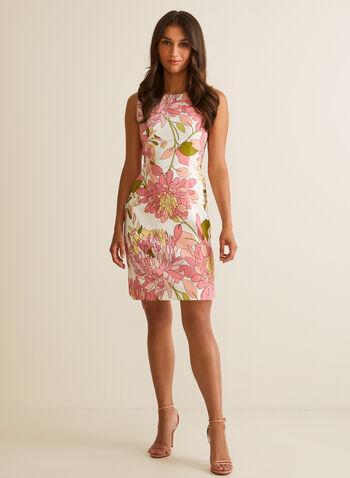Sleeveless Floral Print Dress, Orange,  day dress, floral, scoop neck, sleeveless, sheath, spring summer 2020
