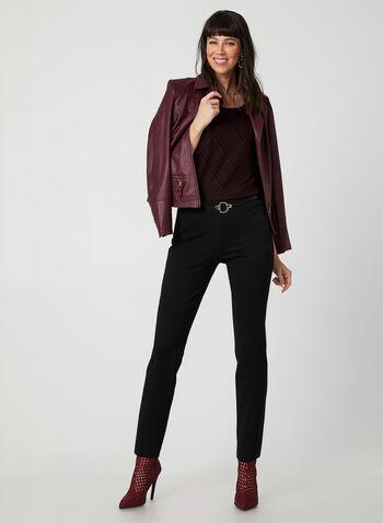 Pantalon pull-on à jambe étroite, Noir,  pantalon, pull-on, point de rome, jambe étroite, pinces, automne hiver 2019