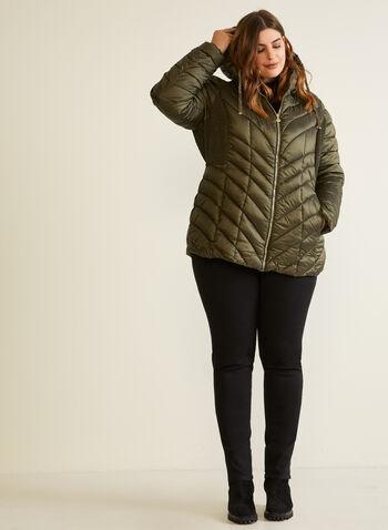Bernardo - Manteau à matelassage chevrons, Vert,  automne hiver 2020, manteau, matelassé, duvet, compressible, Bernardo, col montant, capuchon, zip, poches, EcoPlume