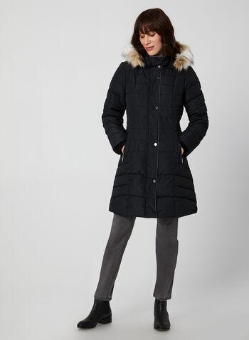 Novelti - Manteau mi-long matelassé à capuchon, Noir,  manteau, mi-long, matelassé, végane, capuchon, fausse fourrure, boutons-pression, automne hiver 2019