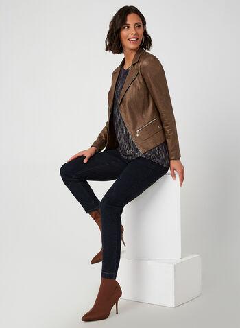 Vex - Veste aspect cuir à détails de zips, Brun,  automne hiver 2019, veste, similicuir, faux cuir, zip, fermeture à glissière, manches longues