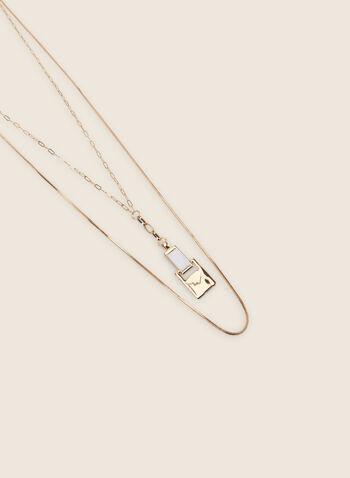 Collier long à double chaîne, Blanc,  collier, long, carré, résine, métal, double chaîne, printemps été 2020