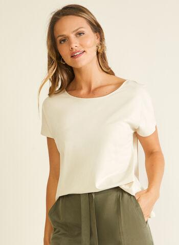T-shirt en coton et modal, Gris,  t-shirt, manches courtes, coton, modal, printemps été 2020