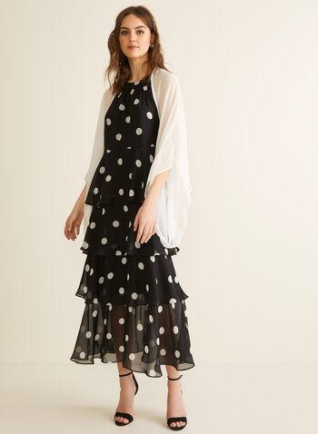 Châle en mousseline, Blanc cassé,  printemps été 2020, châle, mousseline, manches longues, manches kimono, crêpe