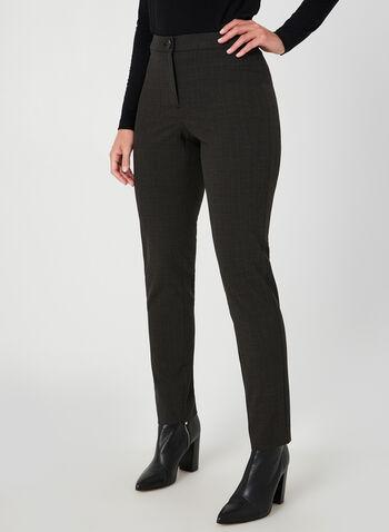 Pantalon coupe signature à carreaux, Brun,  automne hiver 2019, pantalon, jambe droite, taille haute, motif, imprimé, carreaux