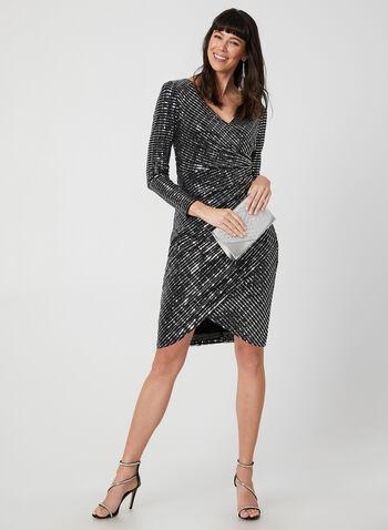 Metallic Faux Wrap Dress, Silver,  dress, cocktail dress, metallic, sequins, long sleeves, faux wrap, fall 2019, winter 2019