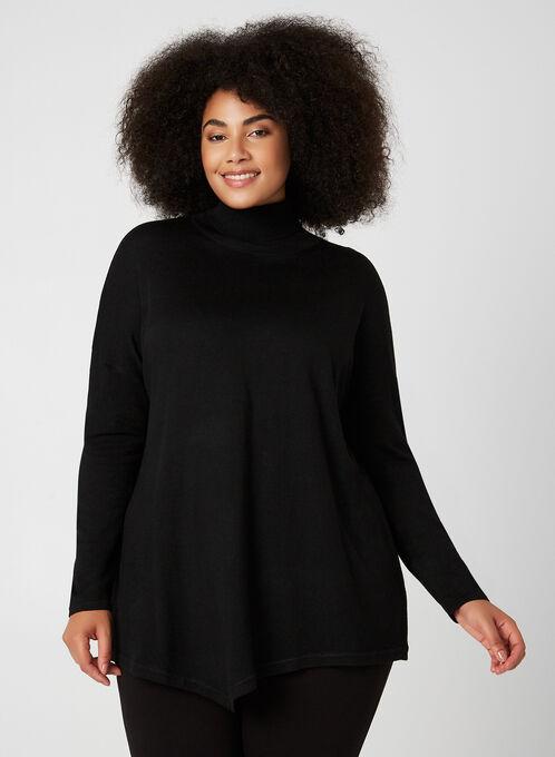 Long Sleeve Knit Turtleneck, Black, hi-res