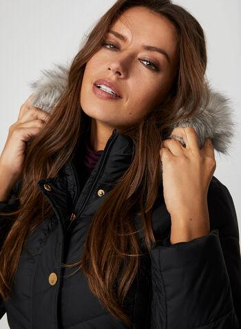 Anne Klein - Manteau long matelassé à capuchon, Noir,  manteau, matelassé, duvet, capuchon, fausse fourrure, tricot, automne hiver 2019