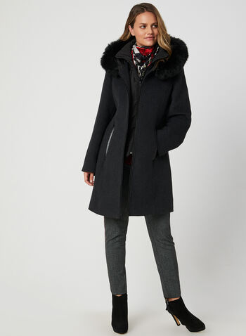 Portrait - Wool-Blend Coat, Grey,  Portrait, coat, long sleeves, interior vest, wool, fall 2019, winter 2019