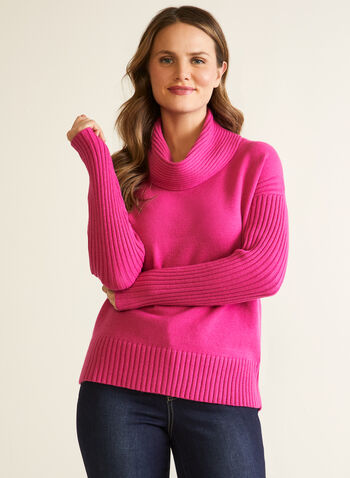 Cowl Neck Sweater , Pink,  fall winter 2020, sweater, dolman sleeves, ribbed, knit, cowl neck, holiday