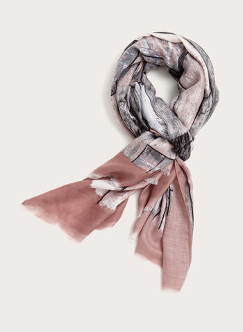 Abstract Print Oblong Scarf, Pink, hi-res