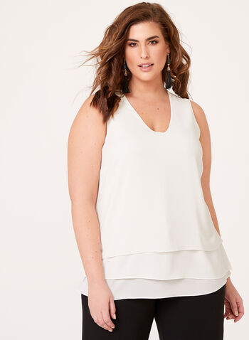 Tiered Crepe Sleeveless Blouse, Off White, hi-res
