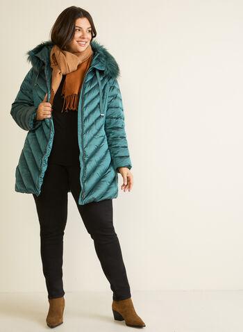 Manteau iridescent à fausse fourrure, Vert,  automne hiver 2020, manteau, manteau d'hiver, matelassé, capuchon, duvet, poches, plumes, plus petites