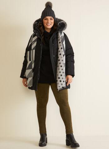 Manteau à capuchon en mélange de duvet , Noir,  automne hiver 2020, capuchon, fermeture à glissière, bouton pression, tissu matelassé, hydrofuge, rembourrage, bordure en fausse fourrure, mélange duvet et plumes, manteau, col montant,