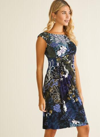 Robe fleurie à effet drapé, Violet,  robe de jour, jersey, mancherons, fleurs, drapé, automne hiver 2020