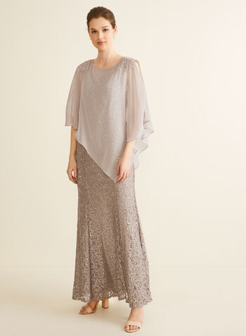 Lace Poncho Dress, Brown,  spring summer 2020, lace, evening look, sequins, mermaid cut