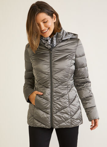 Vegan Down Packable Hooded Coat, Silver,  outerwear, coat, down, vegan, quilted, hood, fall winter 2020