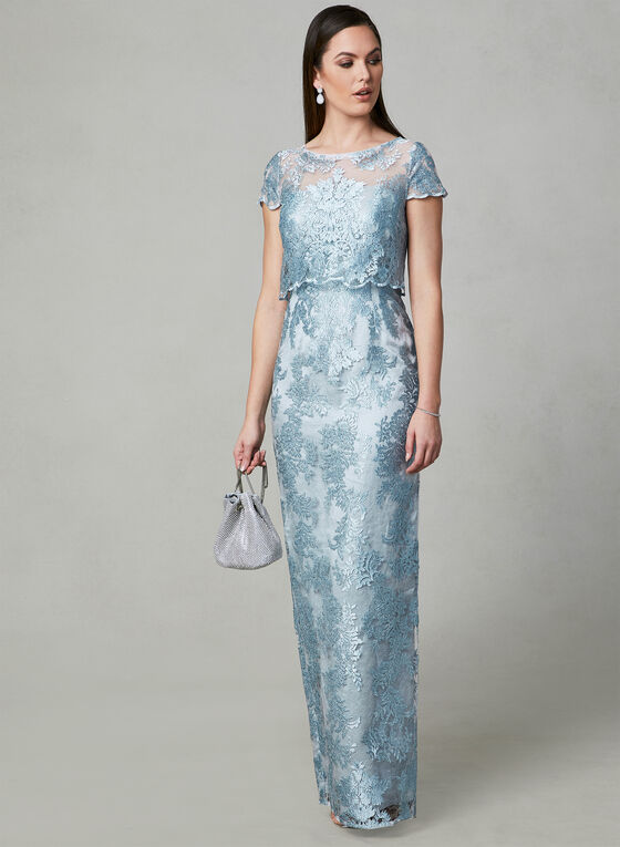 Adrianna Papell - Embroidered Illusion Dress, Blue