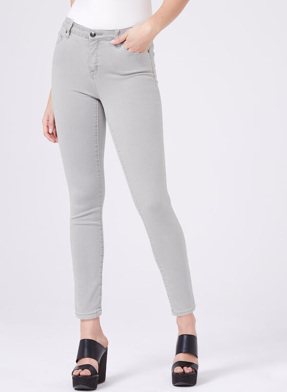 Slim Leg Ankle Jeans , Grey, hi-res