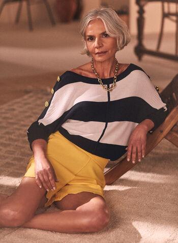 Dolman Sleeve Stripe Motif Sweater, Blue,  sweater, rib knit, stripe, button detail, dolman sleeves, boat neck, fall winter 2020