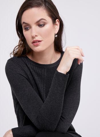 Mixed Stitch Tunic Sweater, Grey, hi-res