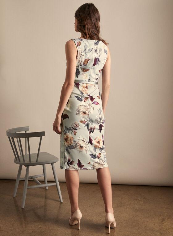 Joseph Ribkoff - Floral Print Pleated Effect Dress, Grey